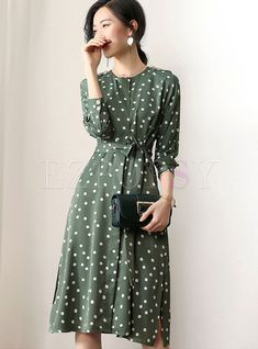 Polka Dot Belted Slit Slim Skater Dress - New Ideas Girly Outfits, Mode Outfits, Classy Outfits, Dress Outfits, Maxi Dress With Sleeves, Silk Dress, Modest Dresses, Casual Dresses, Skater Dresses