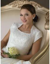 2013 Klassische Maßgeschneiderte Brautkleider aus Satin mit Schleppe und Ärmel