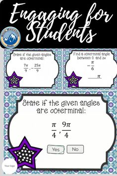 Boom Cards™ are a great way for students to practice every day skills In this deck, students practice finding coterminal angles in radians. This set uses questions that ask if angles are coterminal, asks students to fill in the blank with an angle that is coterminal and multiple choice questions to find a positive and negative coterminal angle. This set of Boom Cards features 40 different Digital Self-Checking Task Cards. (No printing, cutting, laminating, or grading!)