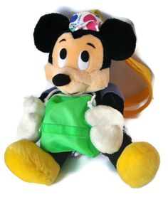 """DISNEY Characters Vacation Mickey Mouse Tourist 11"""" Plush Toy Zip Pouch Straps   #Tomy #disney #disneycharacter #disneyplush #mickeymouse"""