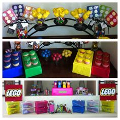 Lego Birthday Party cute cupcake holder idea