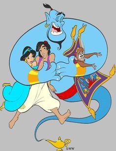 *GENIE, JASMINE, ALADDIN & ABU ~ Aladdin, 1992