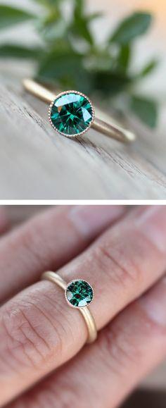 Emerald Moissanite Ring