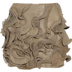 Valentino Ruffled leather and silk-chiffon mini skirt ($1,055) ❤ liked on Polyvore