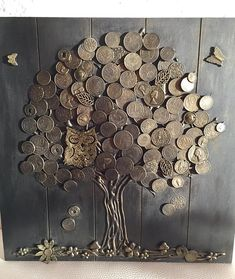 Money tree (good luck) - the most effective talisman of wealth in Chinese teaching Feng Shui. Decorate by this talisman the house and draw prosperity into your life! We used wooden base,tree trunk made of natural wood bark and to crown used these coins of Coin Crafts, Diy And Crafts, Arts And Crafts, Button Art, Button Crafts, Wood Bark, Wood Wood, Pallet Wood, Diy Wood