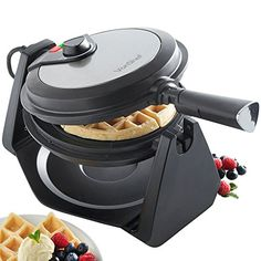 From 19.99 Vonshef 1000w Rotating Waffle Maker With 20cm Non-stick Plates Adjustable Temperature Control - Stainless Steel