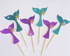 Items similar to Glitter Mermaid Cupcake Toppers - Under the Sea Cupcake Toppers - Set of 12 - Mermaid Party Decoration // Mermaid Birthday Party Supplies on Etsy - Konapuschka - Birthday Party Mermaid Cupcake Toppers, Mermaid Cupcakes, Mermaid Party Decorations, Birthday Party Decorations, Cupcake Decorations, Sea Cupcakes, Mermaid Birthday Cakes, Little Mermaid Parties, 6th Birthday Parties