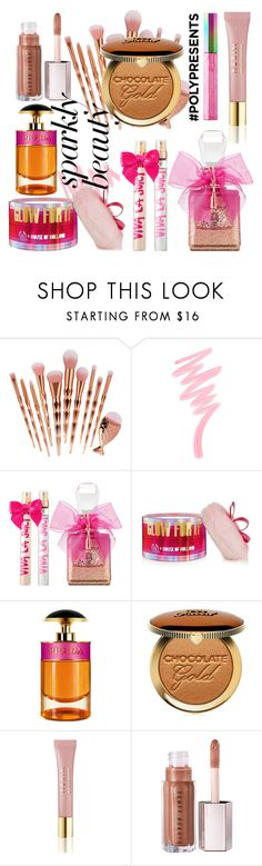 """""""#PolyPresents: Sparkly Beauty"""" by andped ❤ liked on Polyvore featuring beauty, Victoria's Secret, Juicy Couture, The Body Shop, Prada, Too Faced Cosmetics, AERIN, Puma, contestentry and polyPresents"""