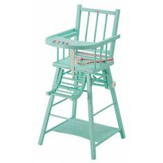 Combelle - Articles de puériculture en bois - Chaise haute laquée vert-mint - Chaises laquées - Chaises