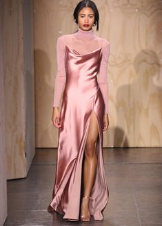 Worn beneath a long satin slip dress on Jonathan Simkhai's Fall runway, this antique rose-pink roll-neck top is an ideal foundation piece. Slip Dress Outfit, Dress Outfits, Fashion Dresses, Dress Up, Pink Outfits, Mode Outfits, Classy Outfits, Pink Fashion, Party Fashion