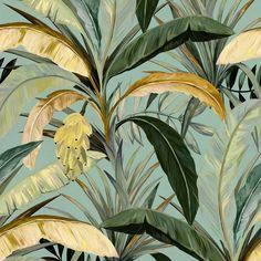 Art Deco Wallpaper, Plant Wallpaper, Tropical Wallpaper, Paper Wallpaper, Retro Wallpaper, Banana Plants, Minimalist Wallpaper, Botanical Illustration, Banana Pie