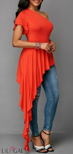 Asymmetric Hem One Shoulder Orange Blouse Skirt Fashion, Fashion Outfits, Womens Fashion, Kurtis Tops, Orange Blouse, Stylish Tops, Beautiful Blouses, Indian Designer Wear, Casual Looks