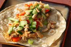 Thai Chicken Tacos {recipe}  Could use lettuce instead of a tortilla to wrap it up