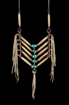 Boho-chic bone breastplate type necklace inspired by Native American breast plates