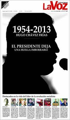 Diario La Voz of Venezuela has the most dramatic Chavez front page