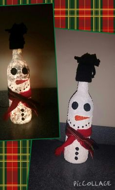 Lighted, Painted Wine Bottle Snowman