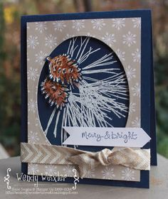 """Stamps: Ornamental Pine, Good Greetings Paper: Night of Navy, Whisper White, Trim the Tree DSP Ink: Whisper White, Night of Navy, Skin Tone Assortment Blendabilities Accessories: Oval Framelits, 1 1/4"""" Square Punch, Chevron Neutral Ribbon"""