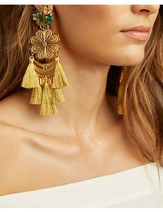 Mercedes Salazar Fiesta Chandelier Earrings: Gold