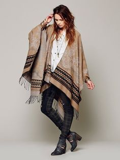 Border Tapestry Poncho by Free People