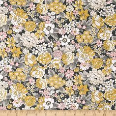 Kaufman London Calling Lawn Large Floral Grey