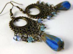 persian blue czech glass chandelier earrings in brass bollywood gypsy boho fashion Blue Chandelier, Chandelier Earrings, Boho Earrings, Earrings Handmade, Drop Earrings, Brass Jewelry, Beaded Jewelry, Persian Blue, Boho Gypsy