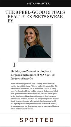 So privileged to be featured in @netaporter 's article where myself and other beauty experts reveal our feel-good rituals! Can you guess what my daily ritual is?👀 Swipe up to find out! 💖 #netaporter #drmaryamzamani #ritual #press #beauty #selfcare #wellbeing #magazine #feature #skincare #beautyexpert Wellbeing Magazine, Go Hiking, Beautiful Ocean, Weight Training, Feel Good, Love Her, How To Find Out, Skincare, Feelings