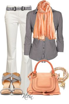 """""""Grey and Coral"""" by stacy-klein on Polyvore"""
