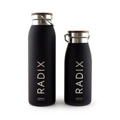 Radix Supervac Vacuum Insulated Bottles available in 2 sizes (350 mL and 500 mL) - Black and silver with a Walnut Top