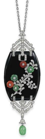 Diamond, onyx, coral and jade Pendant 1925  Christie's | More on the myLusciousLife blog: www.mylusciouslife.com