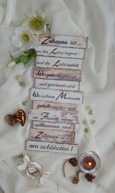 Dekoschild, Zuhause ist, Wanddeko, Familienregeln von Gifts-from-the-heart-by-Sunny auf DaWanda.com