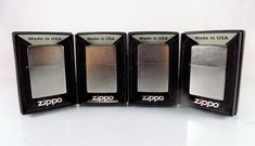 #ZippoLighter #Zippo lot/set of four (4) #windproof #cigarette pocket size #lighter in regular street and satin #chrome with #shiny #silver tone #metal finish and model number 205/207 from #Marlboro limited time #promo promotion, brand new and unfired in original manufacturer's retail black protective collectible #gift box stamped/imprinted with brand name #logo…