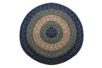 Massachusetts - Country Navy & Sage Round Braided Rug This high-quality braided rug is made by American workers at our family-owned business in the North Carolina Mountains. It is made from Naturalized Olefin, which is a synthetic, polypropylene yarn that is extremely durable, yet soft enough for use indoors. It is color fast and washable. Visit www.stroudbraided... for more details