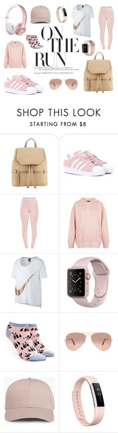 """""""On The Run"""" by eightyeight-88 ❤ liked on Polyvore featuring Beats by Dr. Dre, adidas Originals, Pretty Little Thing, New Look, NIKE, Forever 21, Ray-Ban and Fitbit"""