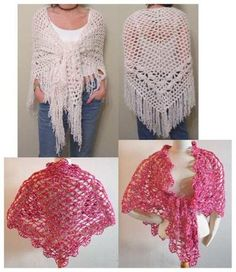 Design by: Allison Weldon & Maggie Weldon Skill Level: Easy Size: Shell and Eyelet: 72″ wide x 29″ long (not including fringe); Tiki: 78″ x 35″ wide. Materials:Yarn Needle; Shell and Eyelet: Bulky Wei