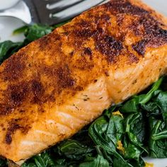 Smoked Paprika Roasted Salmon with Wilted Spinach Recipe Baked Salmon Recipes, Fish Recipes, Seafood Recipes, Vegetarian Recipes, Cooking Recipes, Healthy Recipes, Salmon Spinach Recipes, Fish Dishes, Seafood Dishes