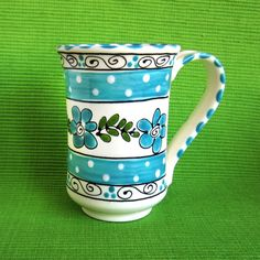 Tall Turquoise Flowered Mug by LaPerlaPottery on Etsy, $10.00