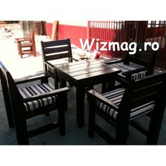 Masa si fotolii din lemn Wenghe Outdoor Furniture Sets, Outdoor Decor, Dining Bench, Home Decor, Decoration Home, Table Bench, Room Decor, Home Interior Design, Home Decoration