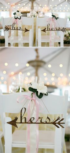 His and her arrow chair signs for sweetheart seats. Captured By: Adriana Klas Photography --- http://www.weddingchicks.com/2014/05/23/elegant-and-classic-pink-wedding/