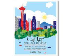Seattle-Baby, Baby Geburt Statistiken, Seattle Skyline, Geburtsanzeige Wandkunst, Kinder Poster, Kindergarten Wandkunst, personalisiert,