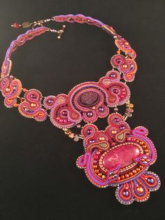 """""""The Queen Dreams of Gypsies"""" Soutache-and-Bead Embroidery necklace."""