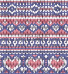 Valentine's seamless vector knitted pattern with hearts for your business - stock vector Knitting Charts, Knitting Stitches, Knitting Socks, Knitting Patterns, Cross Stitch Borders, Cross Stitch Patterns, Crochet Designs, Knitting Designs, Fair Isle Chart