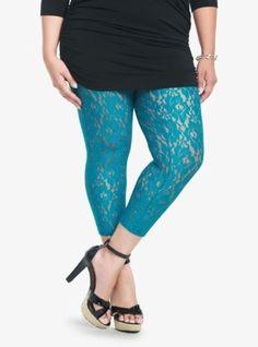 Torrid-Teal-Blue-Lace-Leggings-Plus-Size-1x-14-16-Punk-Rockabilly-Free-Shipping