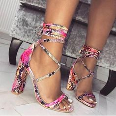 b08dda2ac600 Women s Lace Up Ankle Strap Sandals Snake High Heels Shoes Cross Tie Pumps