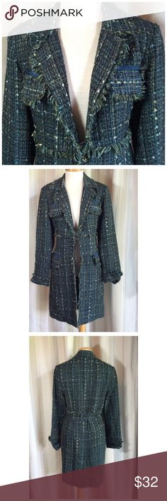 "TRUE MEANING TWEED COAT Really cute and funky coat. One hook closure, two front deep pockets kick pleat in back.  Fully lined.  Acrylic/Poly/Rayon. 17"" at waist. 35"" long. Dark grey with black, cream, teal flecks. Great condition True Meaning Jackets & Coats"