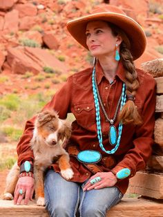 Western hat, western brown shirt, turquoise jewelry