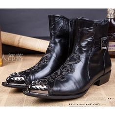Black Horsehair Leather Gothic Punk Western Cowboy Fashion Boots Men SKU-1280569