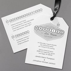 Married in Vegas - Invitation. Available at Persnickety Invitation Studio. Beautiful Wedding Invitations, Wedding Invitation Design, Married In Vegas, Las Vegas Nevada, Getting Married, Place Card Holders, Prints, Destination Weddings, Ribbons