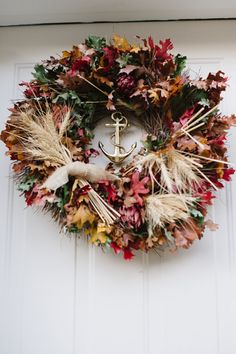 Nautical wreath idea with anchor in the center.
