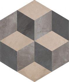 #Marca Corona #Terra Cubo Esagonale Vers. F 25x21,6 cm 0400 | #Feinsteinzeug #Zement-Effekt #25x21,6 | im Angebot auf #bad39.de 61 Euro/qm | #Fliesen #Keramik #Boden #Badezimmer #Küche #Outdoor