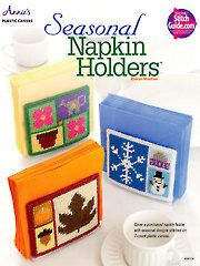"""Plastic Canvas: """"Ready, Set, Sew!"""" by Evie patterns (Annie's Catalog)--""""Seasonal Napkin Holders"""" and """"Notepad Covers"""""""